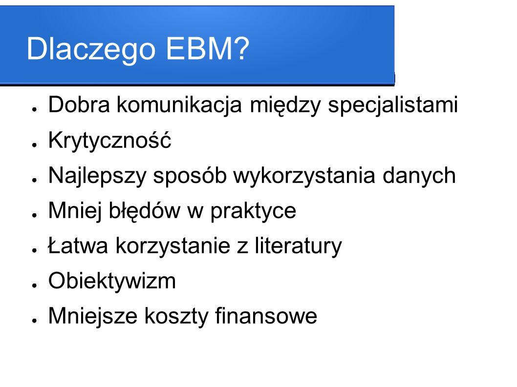 Dlaczego EBM Dobra komunikacja między specjalistami Krytyczność