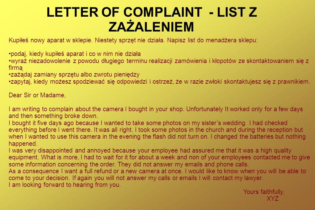 LETTER OF COMPLAINT - LIST Z ZAŻALENIEM