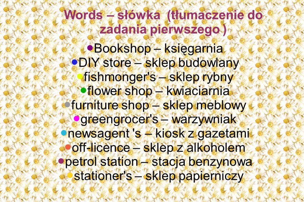 Words – słówka (tłumaczenie do zadania pierwszego )