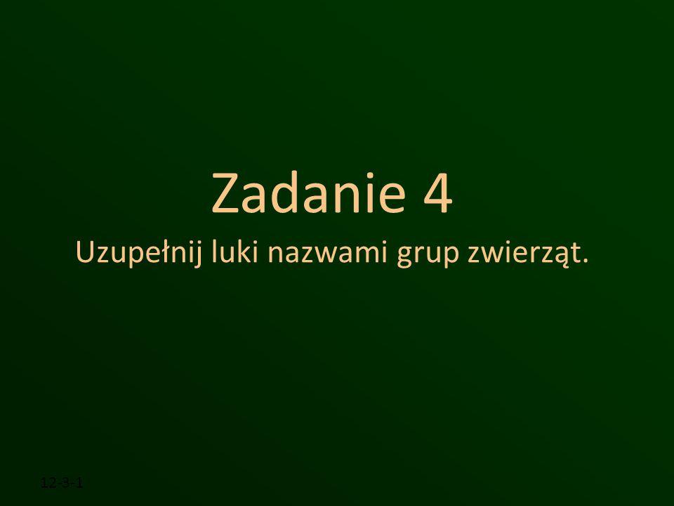 Zadanie 4 Uzupełnij luki nazwami grup zwierząt.