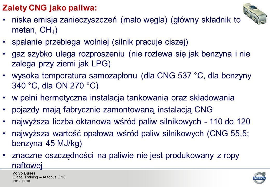 Zalety CNG jako paliwa: