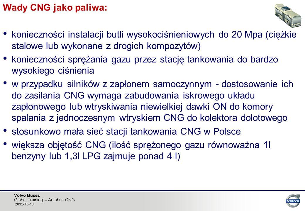 Wady CNG jako paliwa: konieczności instalacji butli wysokociśnieniowych do 20 Mpa (ciężkie stalowe lub wykonane z drogich kompozytów)