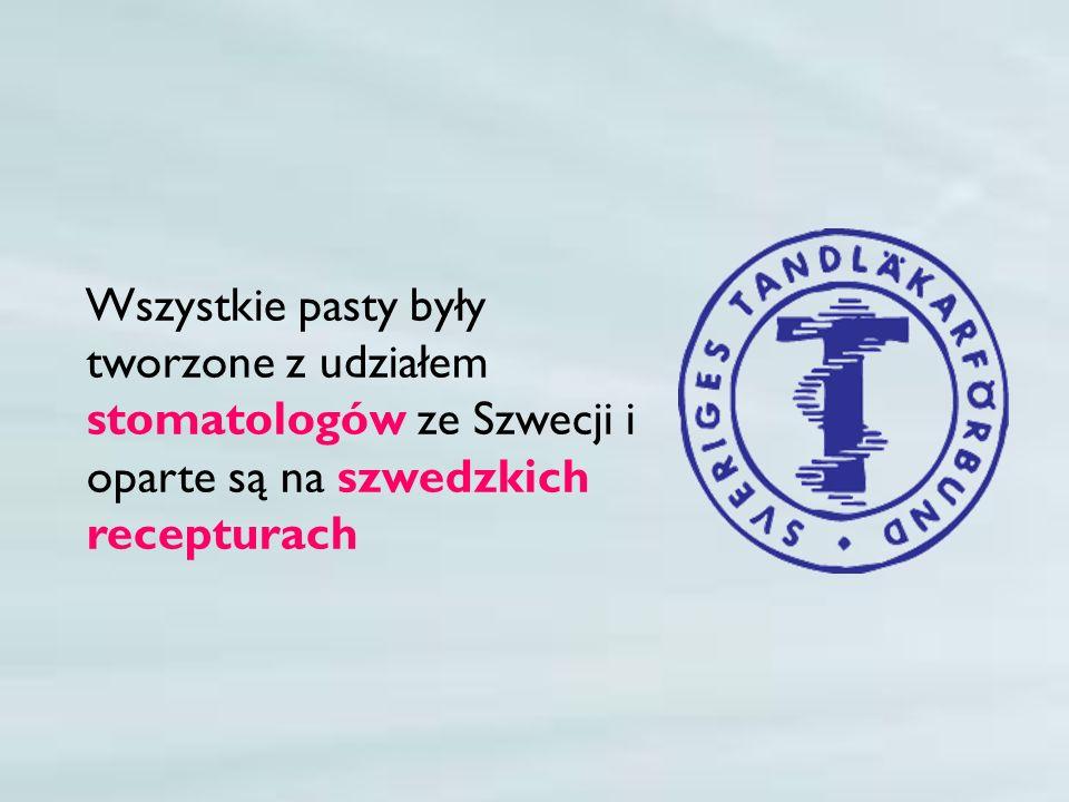 Wszystkie pasty były tworzone z udziałem stomatologów ze Szwecji i oparte są na szwedzkich recepturach