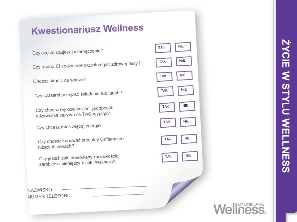ŻYCIE W STYLU WELLNESS Kwestionariusz Wellness