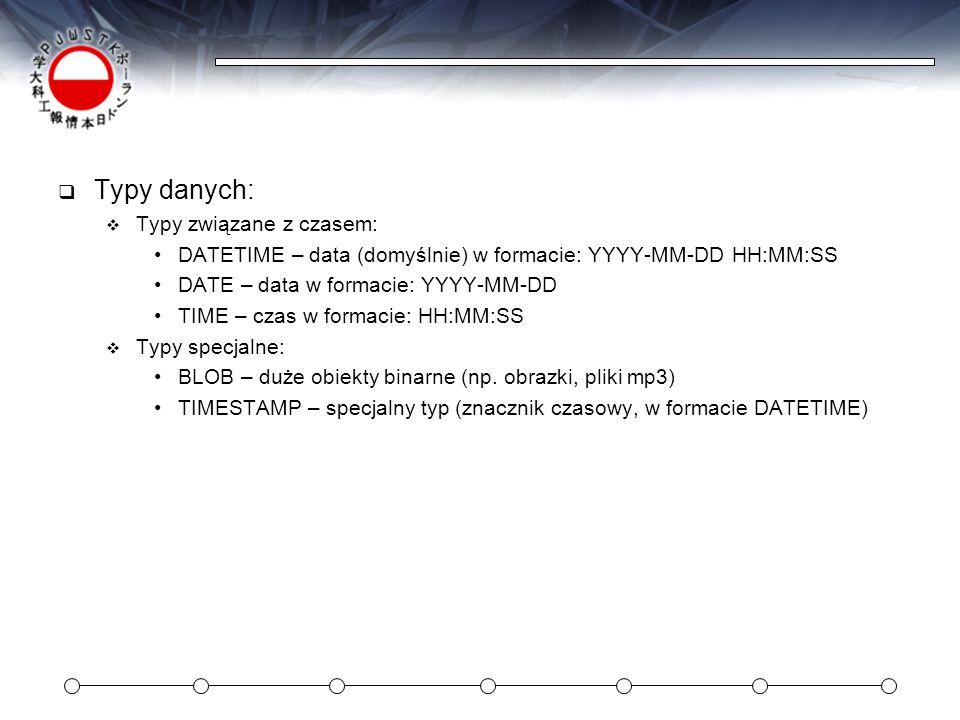 Typy danych: Typy związane z czasem: