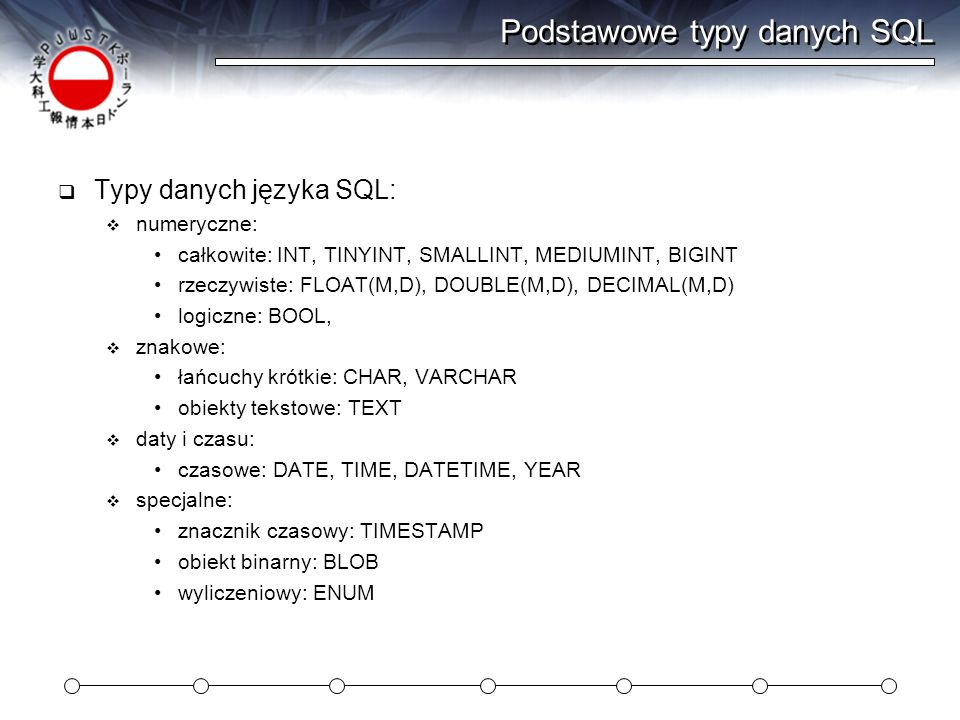 Podstawowe typy danych SQL