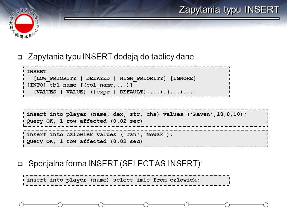 Zapytania typu INSERT Zapytania typu INSERT dodają do tablicy dane