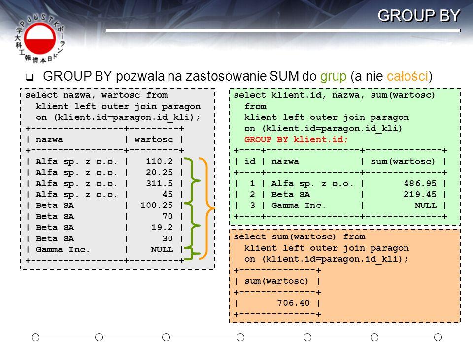 GROUP BY GROUP BY pozwala na zastosowanie SUM do grup (a nie całości)