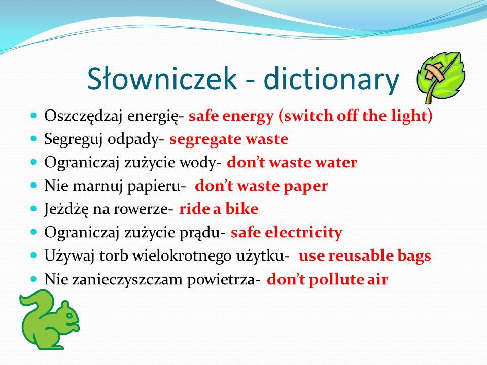 Słowniczek - dictionary
