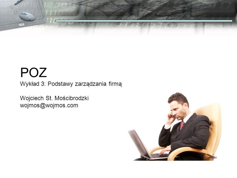 POZ Wykład 3: Podstawy zarządzania firmą Wojciech St