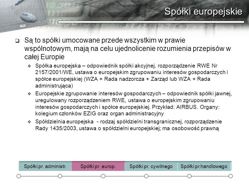 Spółki europejskie Są to spółki umocowane przede wszystkim w prawie wspólnotowym, mają na celu ujednolicenie rozumienia przepisów w całej Europie.
