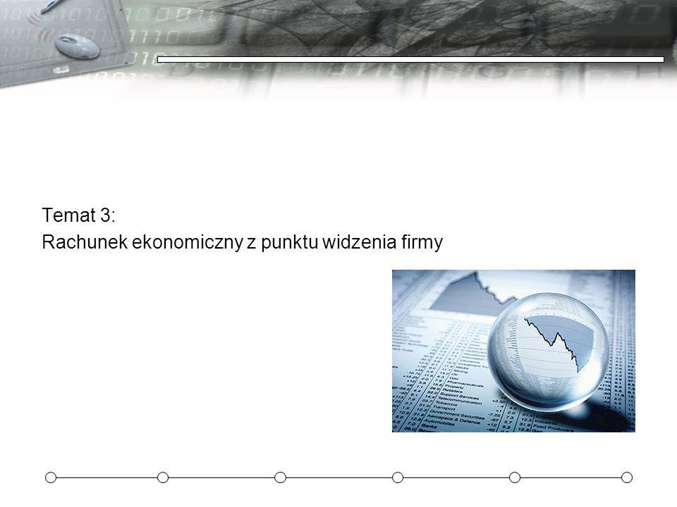 Temat 3: Rachunek ekonomiczny z punktu widzenia firmy