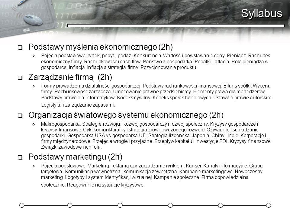 Syllabus Podstawy myślenia ekonomicznego (2h) Zarządzanie firmą (2h)