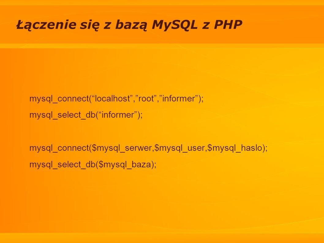 Łączenie się z bazą MySQL z PHP