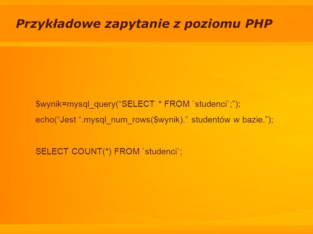 Przykładowe zapytanie z poziomu PHP