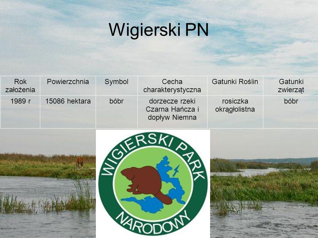 Wigierski PN Rok założenia Powierzchnia Symbol Cecha charakterystyczna