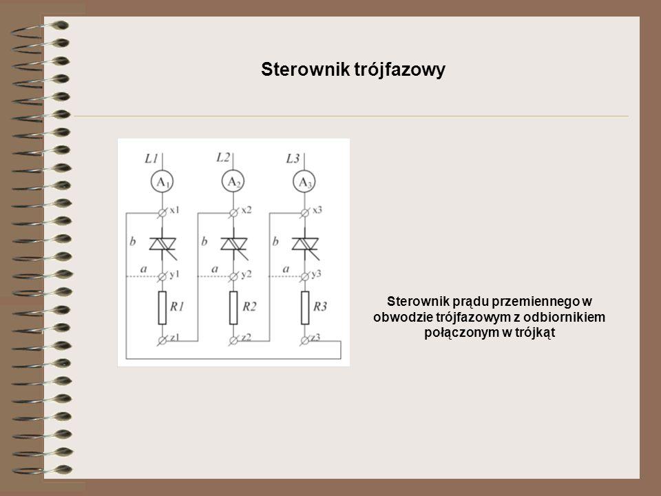 Sterownik trójfazowy Sterownik prądu przemiennego w obwodzie trójfazowym z odbiornikiem połączonym w trójkąt.