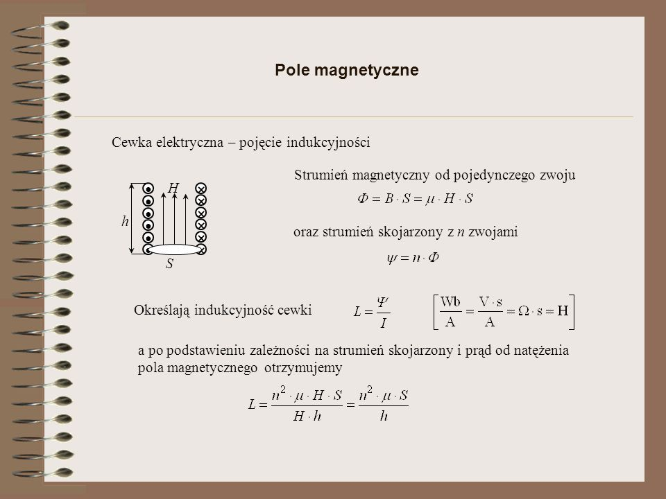 Pole magnetyczne Cewka elektryczna – pojęcie indukcyjności
