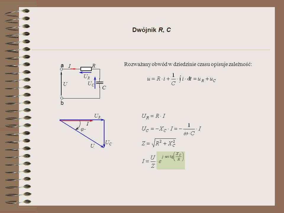 Dwójnik R, C Rozważany obwód w dziedzinie czasu opisuje zależność: a I