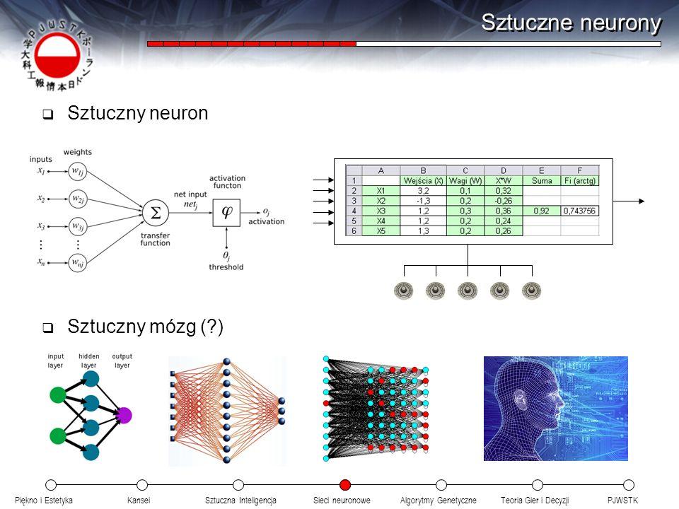 Sztuczne neurony Sztuczny neuron Sztuczny mózg ( )
