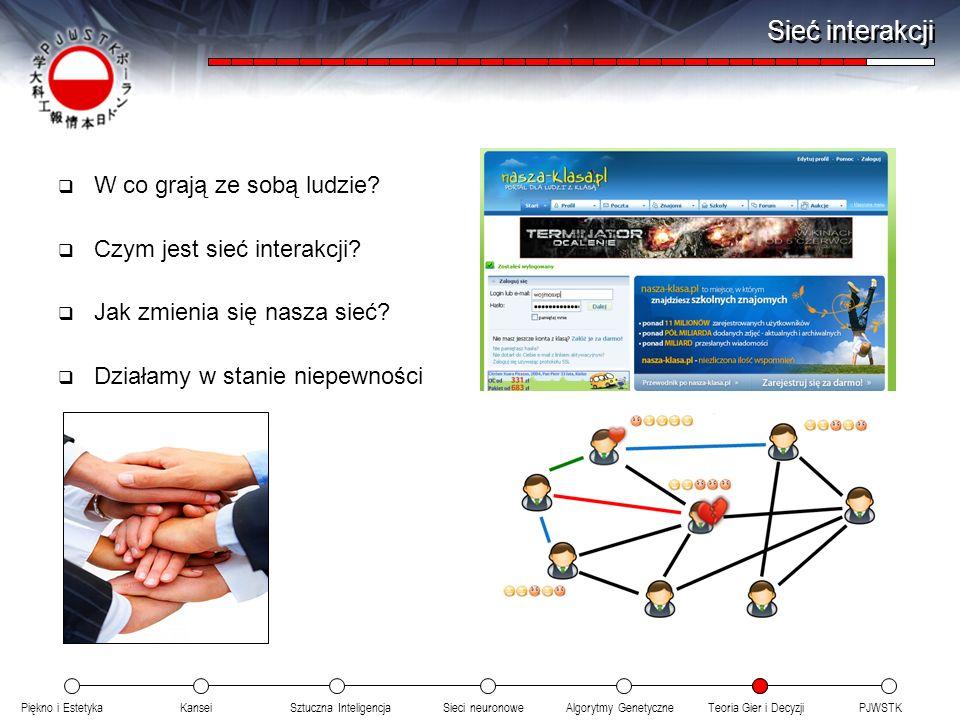 Sieć interakcji W co grają ze sobą ludzie Czym jest sieć interakcji