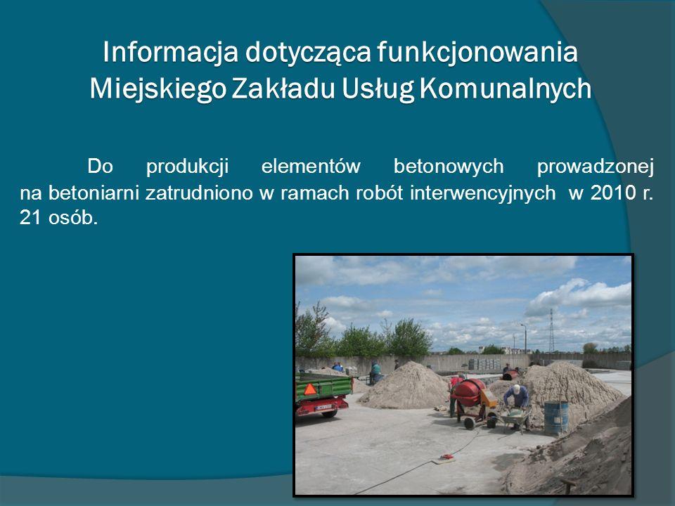 Informacja dotycząca funkcjonowania Miejskiego Zakładu Usług Komunalnych