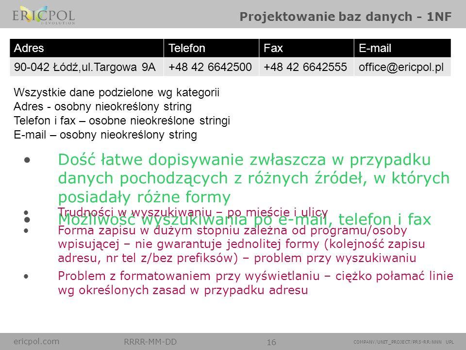 Projektowanie baz danych - 1NF