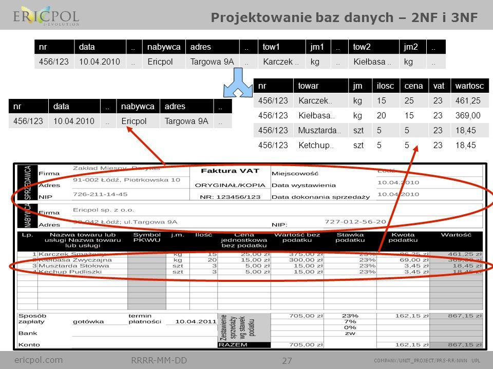 Projektowanie baz danych – 2NF i 3NF