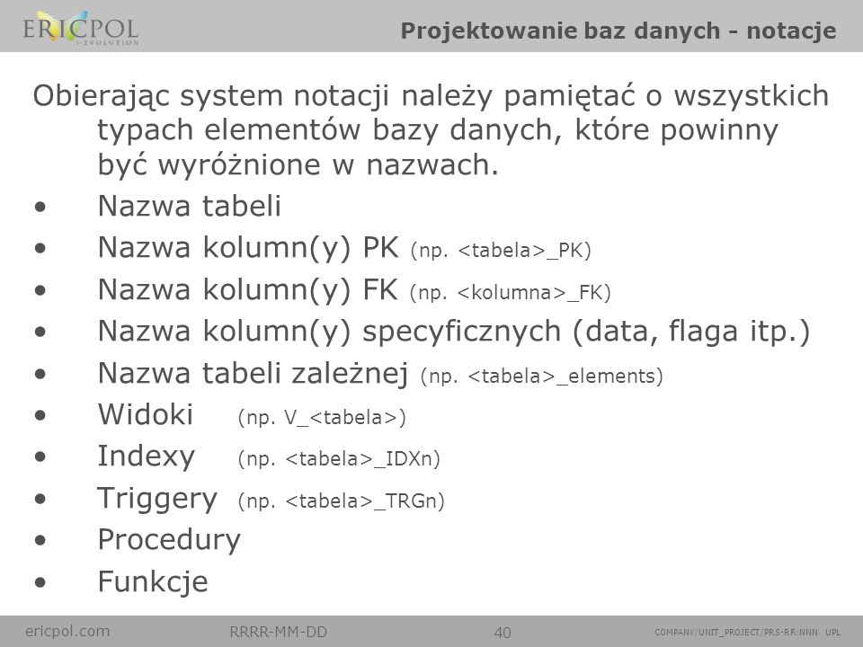 Projektowanie baz danych - notacje