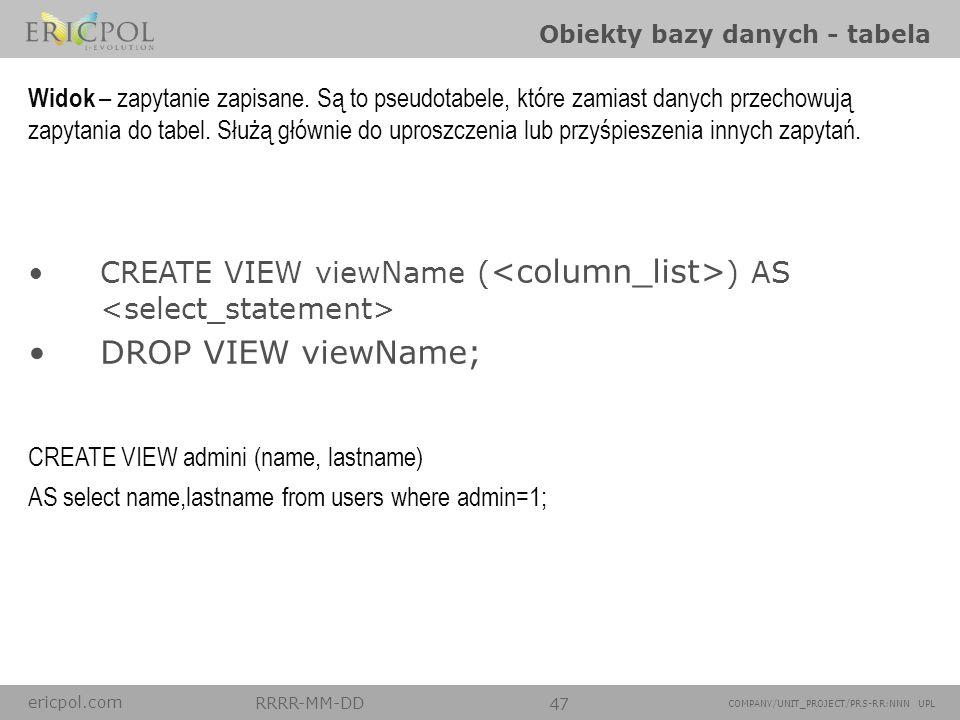 Obiekty bazy danych - tabela