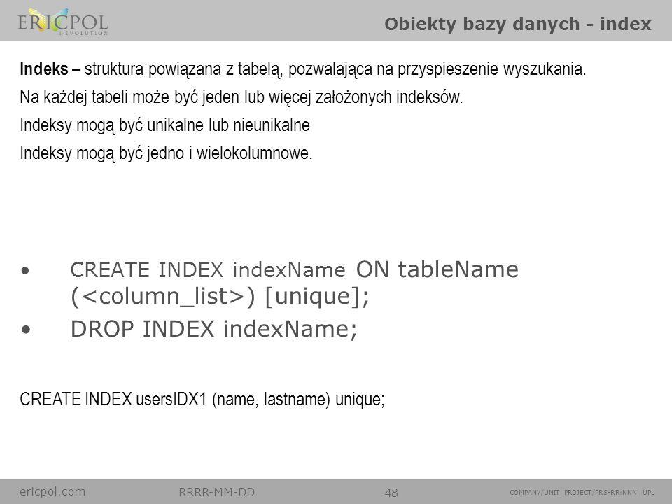 Obiekty bazy danych - index