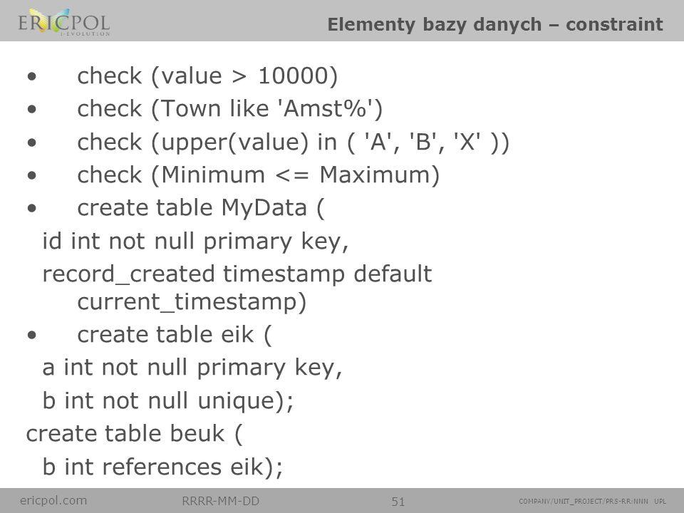 Elementy bazy danych – constraint