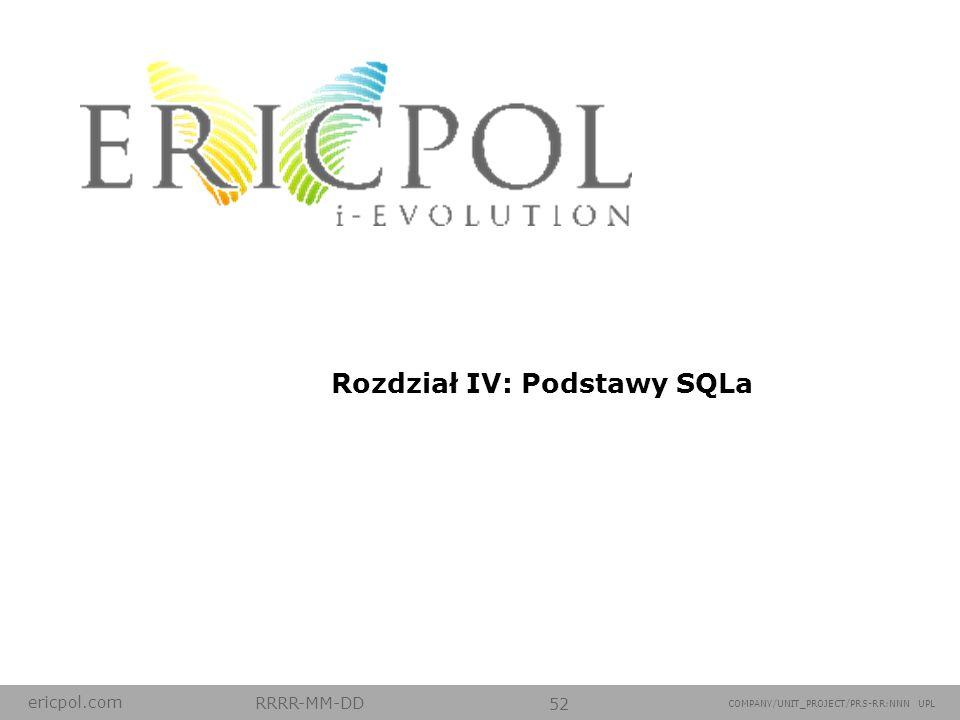 Rozdział IV: Podstawy SQLa