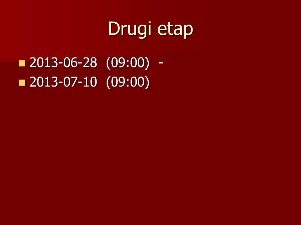 Drugi etap 2013-06-28 (09:00) - 2013-07-10 (09:00)