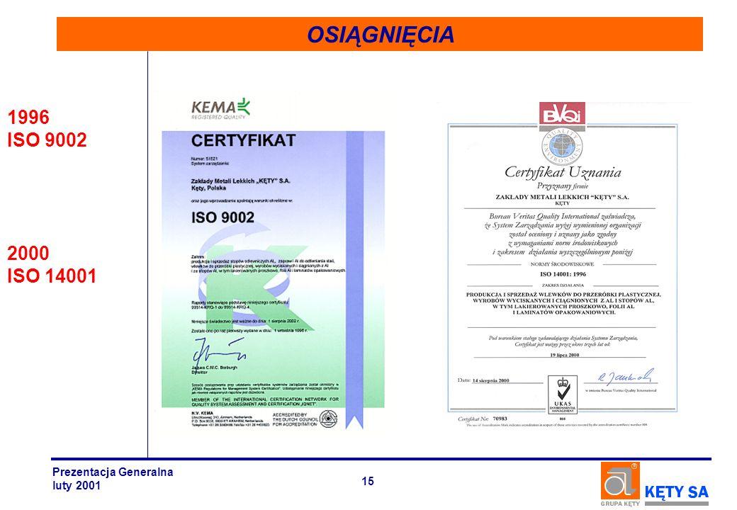OSIĄGNIĘCIA 1996 ISO 9002 2000 ISO 14001 Prezentacja Generalna