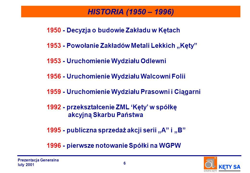 HISTORIA (1950 – 1996) 1950 - Decyzja o budowie Zakładu w Kętach