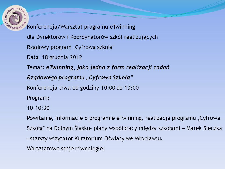 Konferencja/Warsztat programu eTwinning