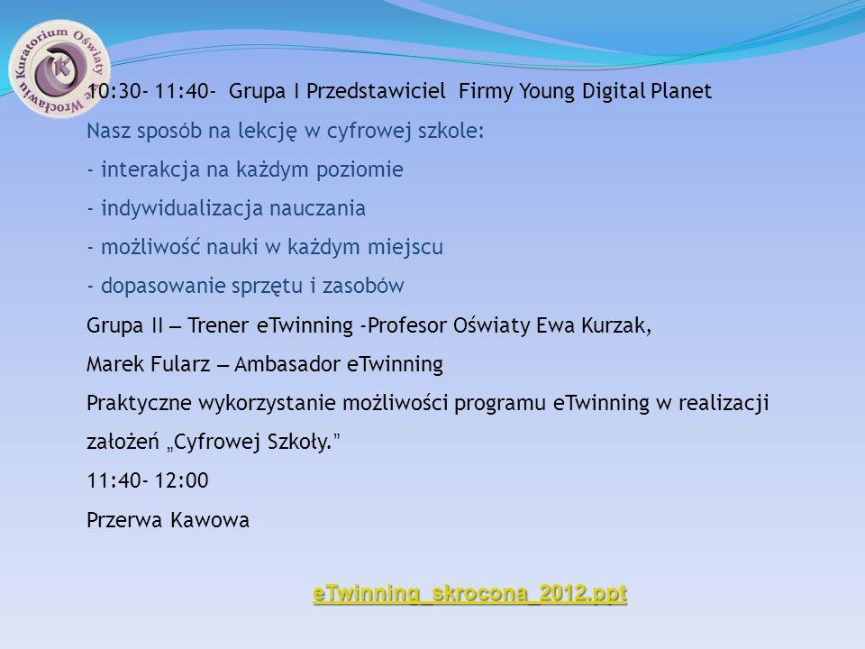 10:30- 11:40- Grupa I Przedstawiciel Firmy Young Digital Planet
