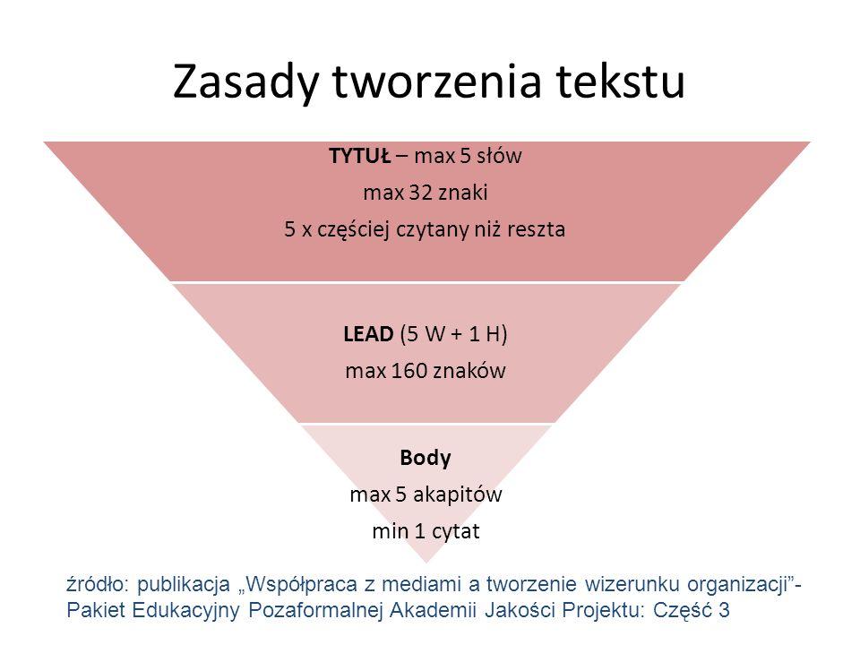 Zasady tworzenia tekstu
