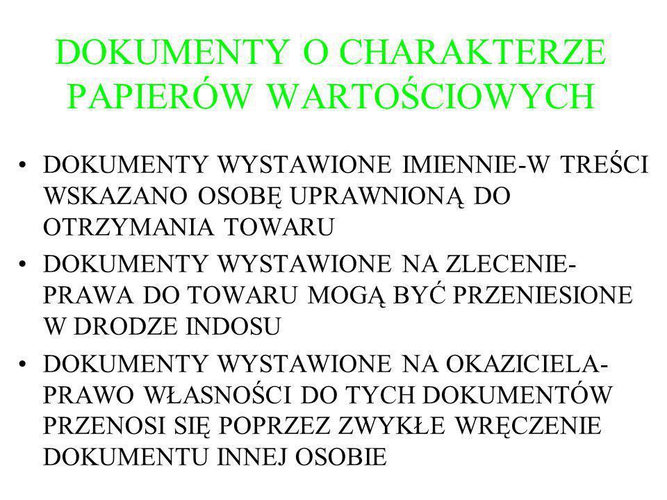 DOKUMENTY O CHARAKTERZE PAPIERÓW WARTOŚCIOWYCH