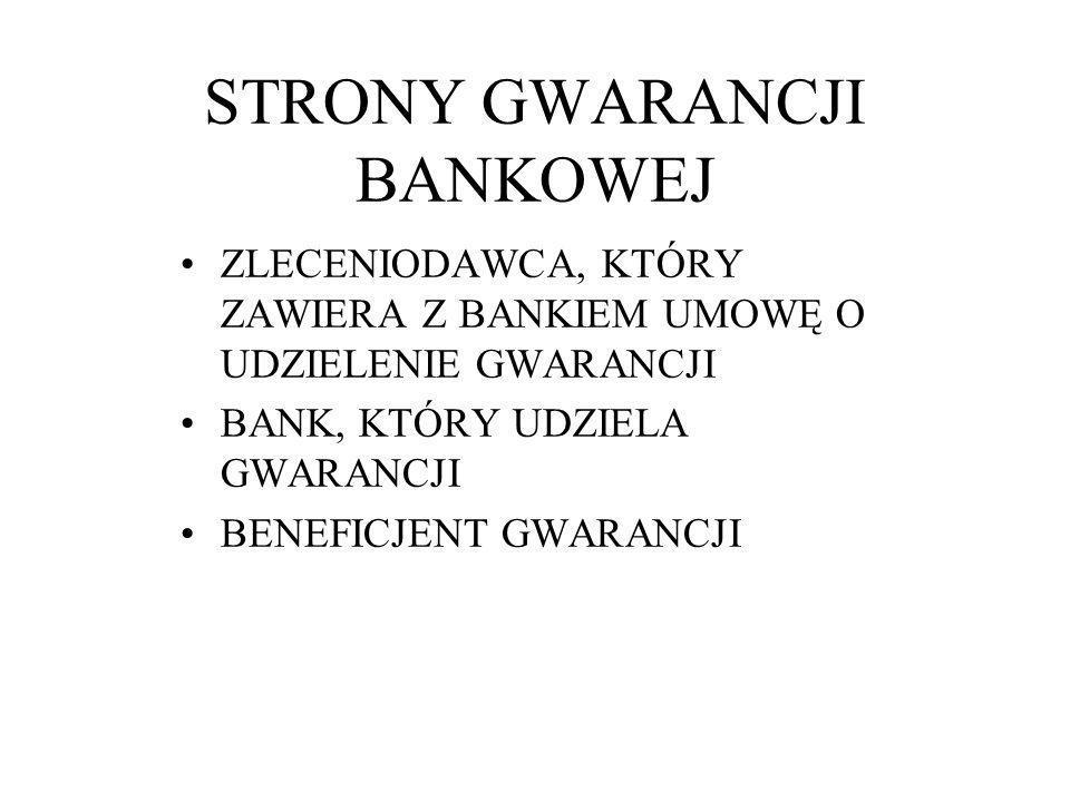 STRONY GWARANCJI BANKOWEJ