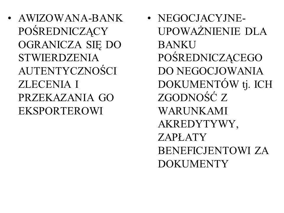 AWIZOWANA-BANK POŚREDNICZĄCY OGRANICZA SIĘ DO STWIERDZENIA AUTENTYCZNOŚCI ZLECENIA I PRZEKAZANIA GO EKSPORTEROWI