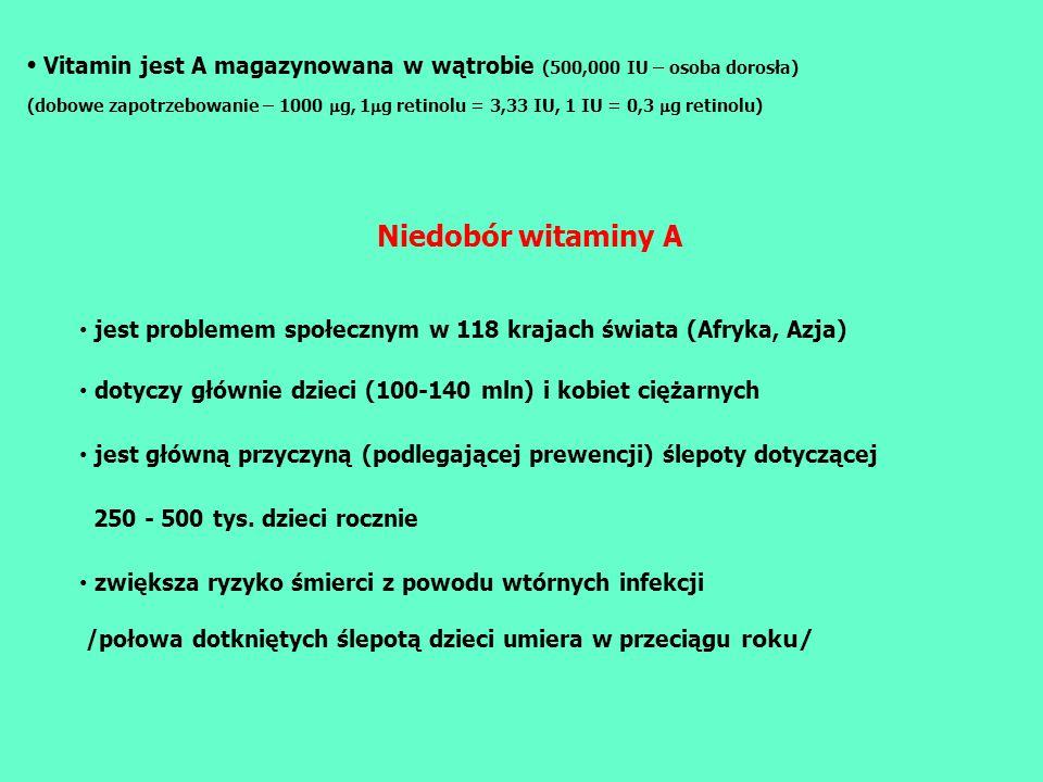 • Vitamin jest A magazynowana w wątrobie (500,000 IU – osoba dorosła)