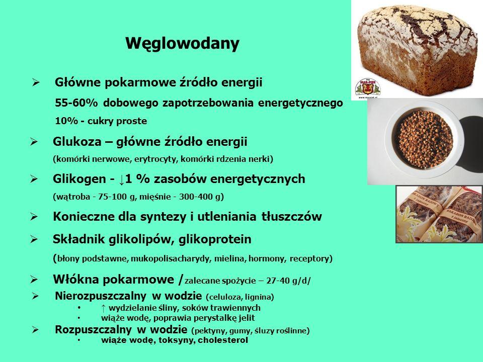 Węglowodany Główne pokarmowe źródło energii