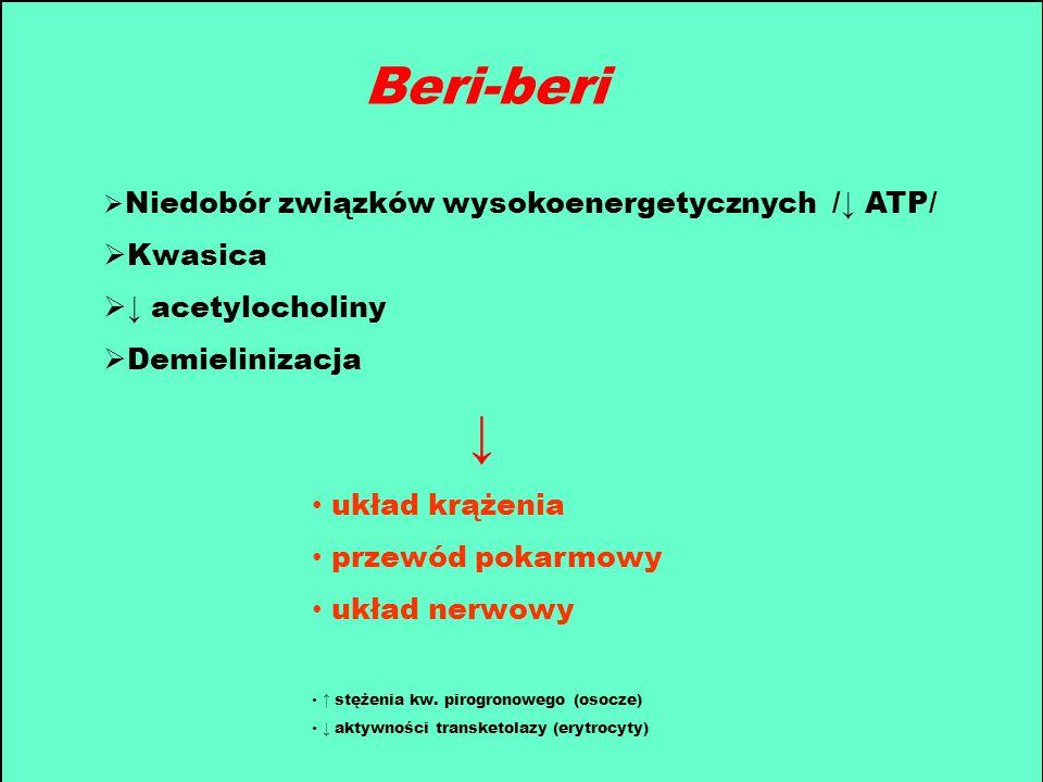 Beri-beri ↓ Kwasica ↓ acetylocholiny Demielinizacja układ krążenia