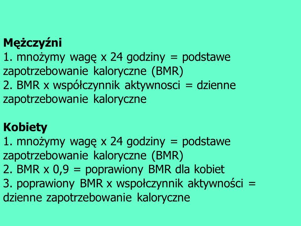 Mężczyźni 1. mnożymy wagę x 24 godziny = podstawe zapotrzebowanie kaloryczne (BMR) 2. BMR x współczynnik aktywnosci = dzienne zapotrzebowanie kaloryczne