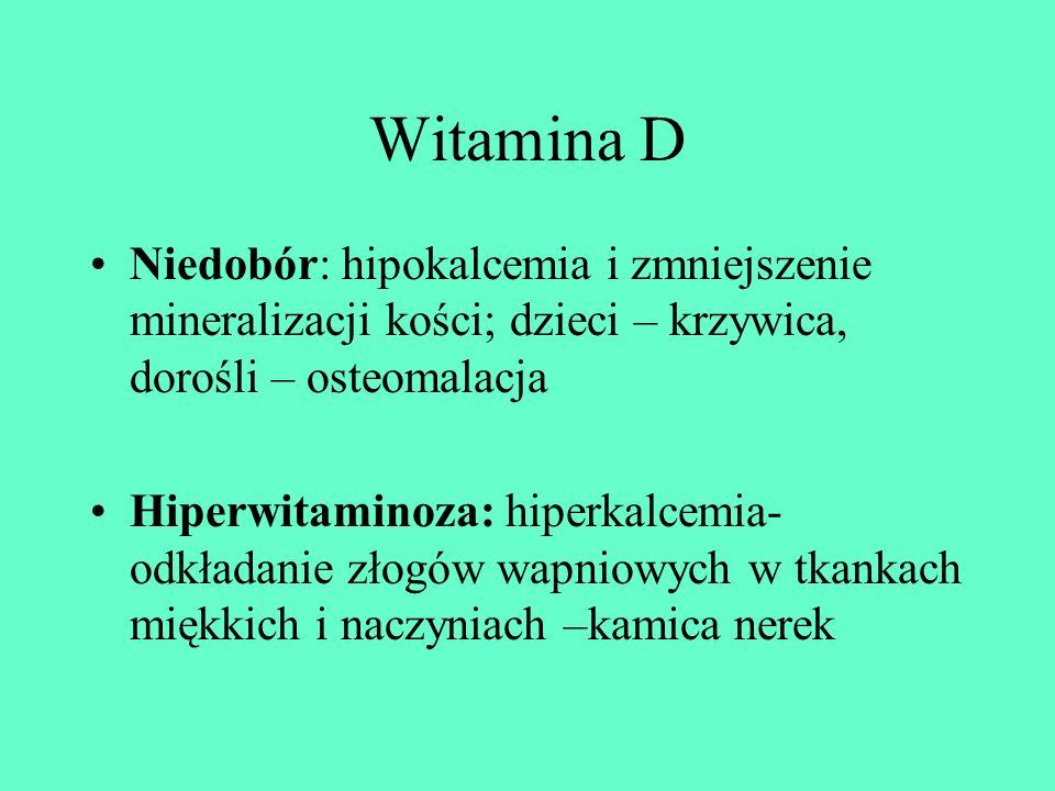 Witamina D Niedobór: hipokalcemia i zmniejszenie mineralizacji kości; dzieci – krzywica, dorośli – osteomalacja.