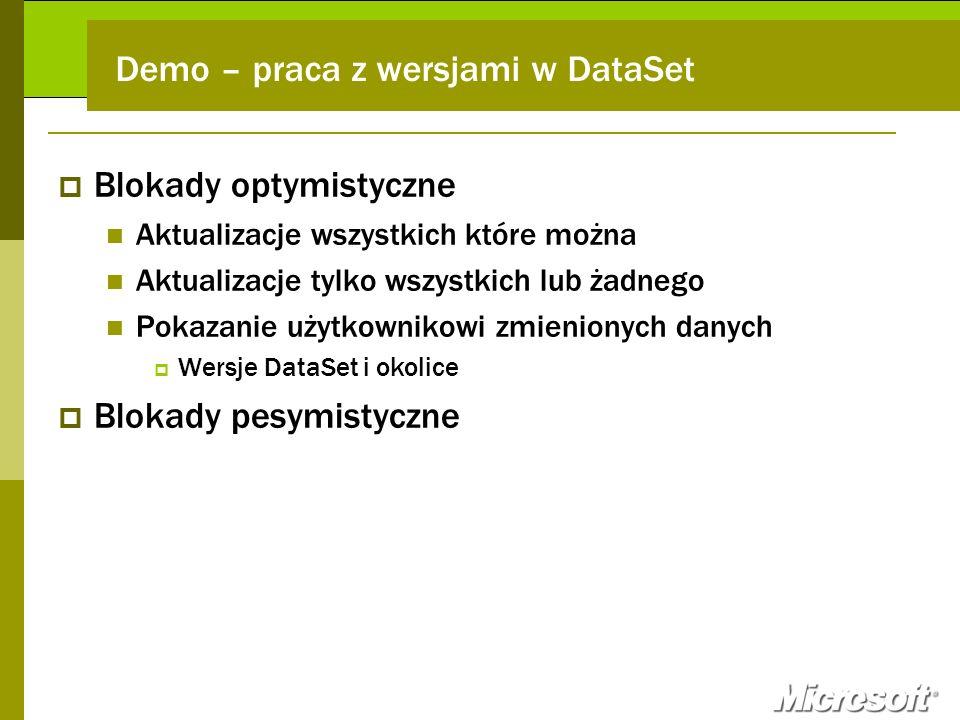 Demo – praca z wersjami w DataSet