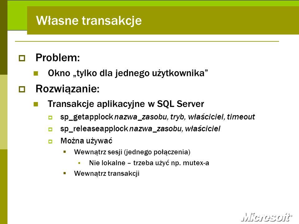 Własne transakcje Problem: Rozwiązanie: