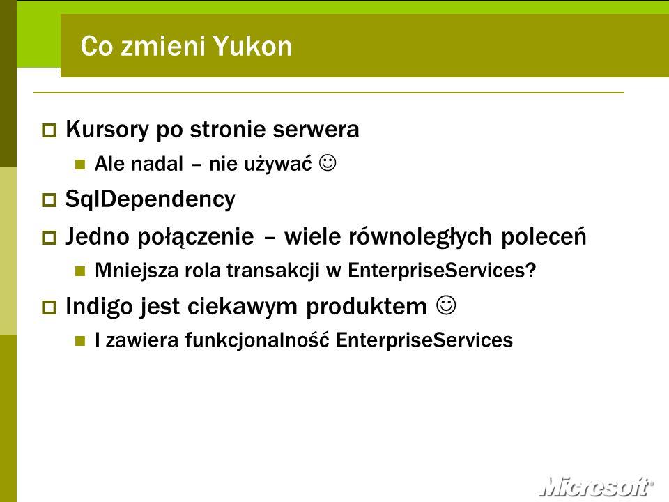 Co zmieni Yukon Kursory po stronie serwera SqlDependency